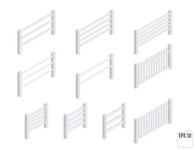 等尺性の白いフェンスセクション。フェンシングコンストラクター。さまざまな形の木製のフェンス。