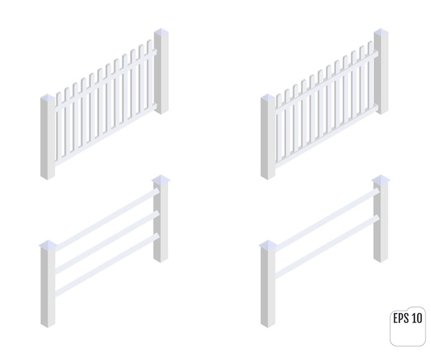 Isometric white fence sections. fencing constructor.