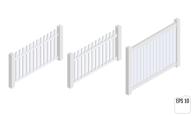 Isometric white fence sections isolated on white