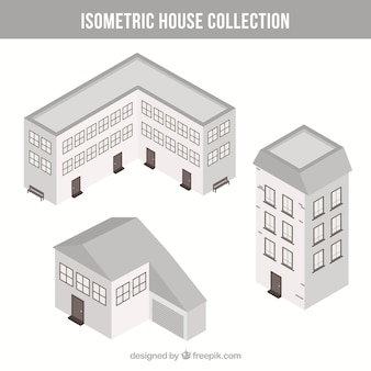 Isometric white house collection