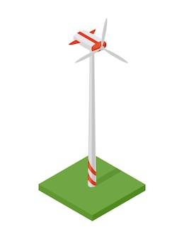 Isometric wind turbine. concept of clean energy. clean ecological power. renewable electric energy