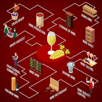 Изометрическая блок-схема производства вина с изолированными изображениями людей, обслуживающих технику, бокал вина и виноград