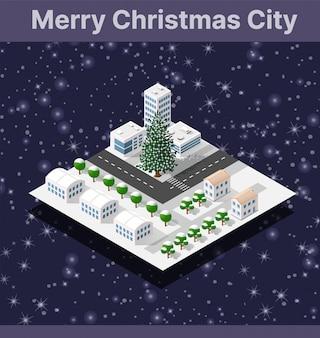 Isometric winter city