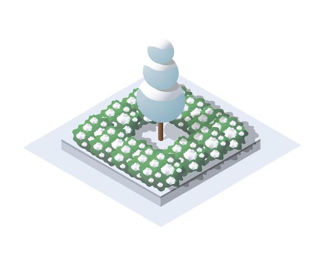 雪、木々のある等尺性ウィンターパーク。 webゲーム、デザインの概念オブジェクト