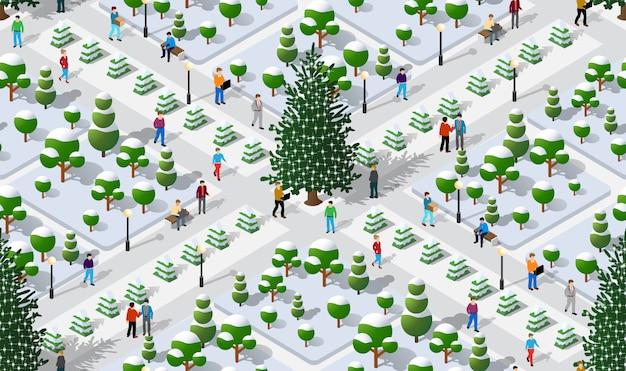 Isometric winter park