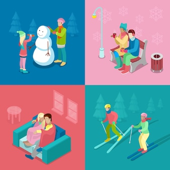 Isometric winter people. skiing couple, girl and boy making snowman, walking outdoor. 3d flat