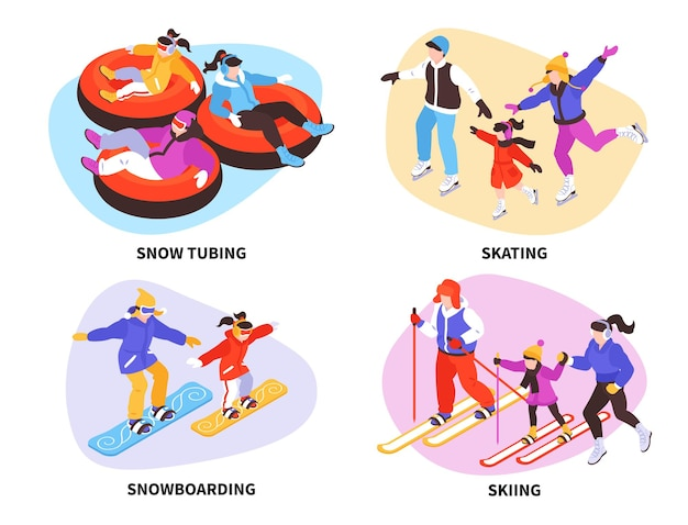 Isometric winter sports and activities illustration