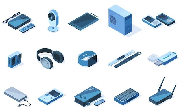 Изометрические беспроводные технологии 3d электронные гаджеты оборудование. планшет, наушники, набор векторных иллюстраций трекерных устройств. беспроводные сетевые электронные устройства, такие как флэш-накопитель и экшн-камера