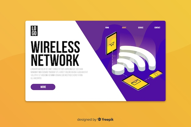 Isometric wireless network landing page template