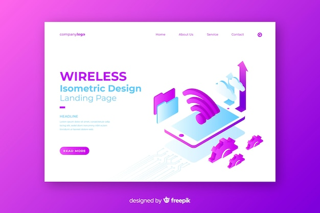 Isometric wireless network landing page