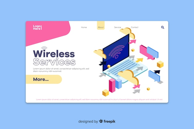 Isometric wireless service landing page template
