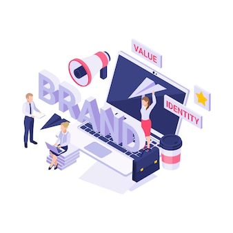 Isometric  with people working on new brand strategy 3d  illustration