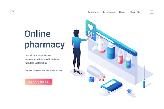 Isometric woman choosing medications in online pharmacy service