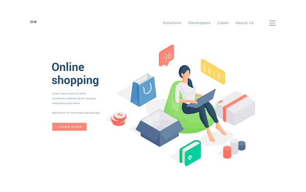Isometric woman sitting on bean bag and making purchases on laptop