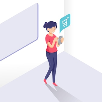 Isometric woman on smartphone, online shopping