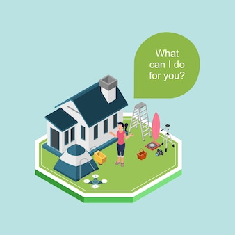 Isometric a woman standing in front of house offering help to use her stuffs