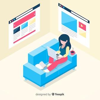 Isometric woman using electronic device background