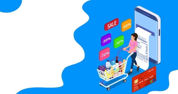 쇼핑 카트와 아이소메트릭 여자입니다. 쇼핑 및 슈퍼마켓 개념, 웹 배너, 인포그래픽에 사용할 수 있습니다. 평면 스타일의 벡터 일러스트 레이 션