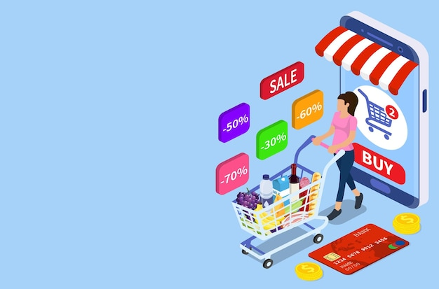 Isometric woman with shopping cart. shopping and supermarket concept, can use for web banner, infographics. vector illustration in flat style