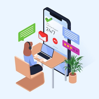 Isometric woman working in customer support