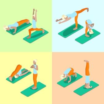 Изометрические женщина позы йоги тренировки