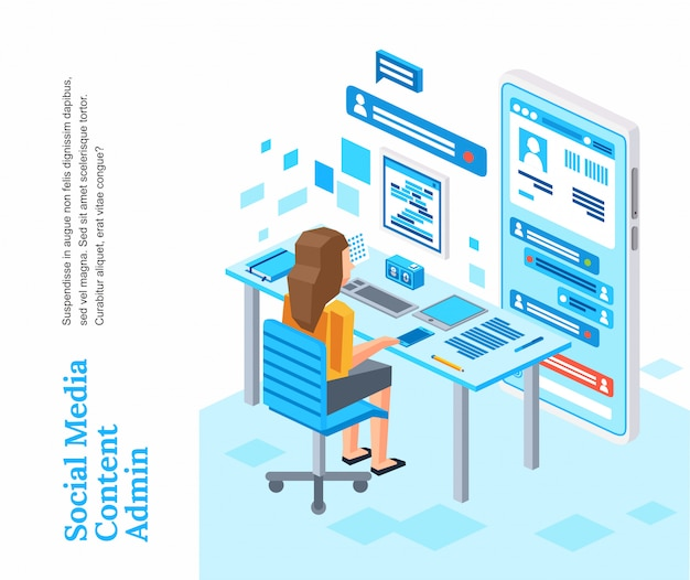 Isometric women character working sit on chair working with social media icon illustration