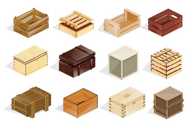 아이소메트릭 나무 상자 세트입니다. 선적, 운반, 유통 및 보관을 위한 개방형 및 폐쇄형 목재 패키지 컨테이너. 화물 운송, 우편, 소포 배달 만화 벡터용 덮개가 있는 질감된 상자