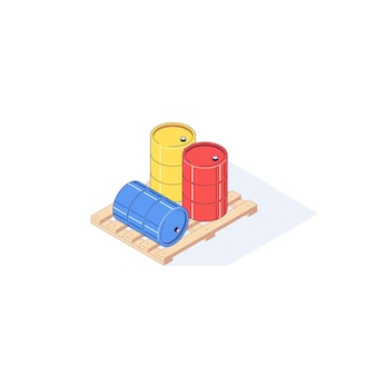 Isometric wooden pallet with barrels illustration