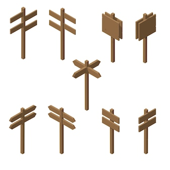 Isometric wooden pointers.