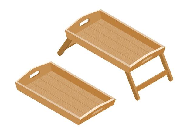 白い背景の上の等尺性木製トレイとテーブルオブジェクト