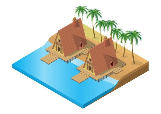 Isometric wooden tropical resort on beach with palm tree