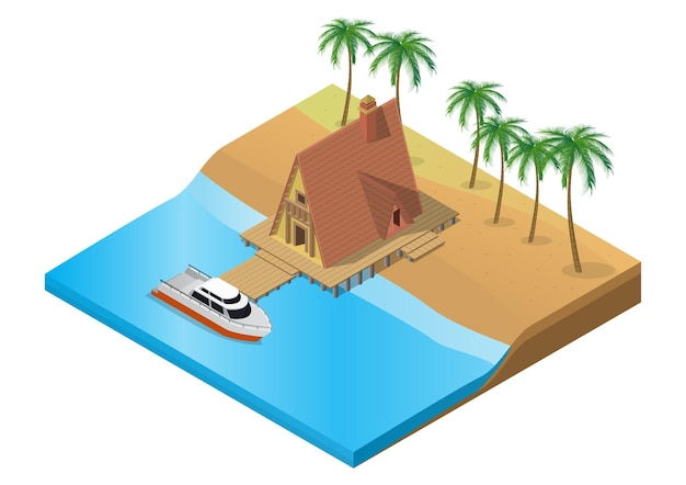 Isometric wooden tropical resort with boat on water