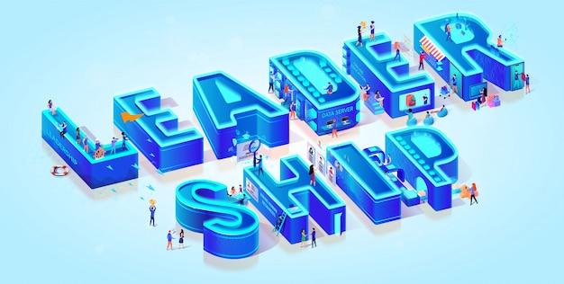 Isometric word leadership on light blue