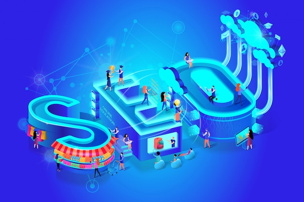 Isometric word seo on gradient blue background.