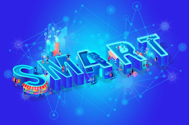 Isometric word smart on blue gradient
