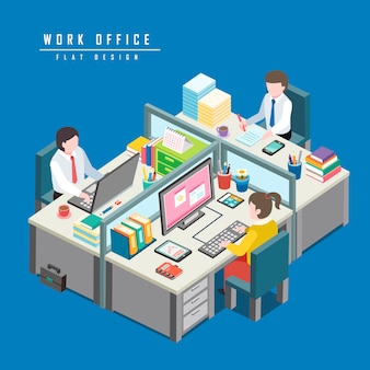 Isometric  of work office concept