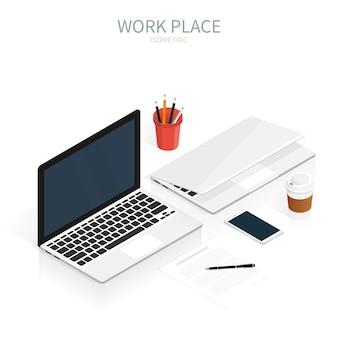 Isometric work place laptop