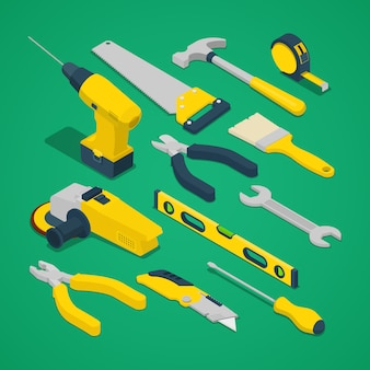 Isometric work tools set with drill screwdriver level and hammer.