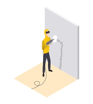 Изометрический рабочий. ремонт дома изометрической формы с мастером, который делает стробоскоп для проводки