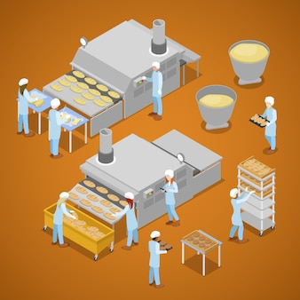Isometric workers on bakery factory