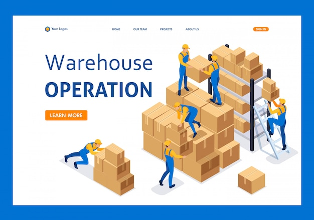 Isometric workers in a warehouse collect boxes, warehouse work landing page