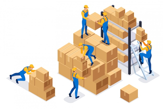 Isometric workers in a warehouse collect boxes, warehouse work.