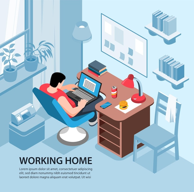 Isometric working home illustration composition with living room interior and male character with laptop and text