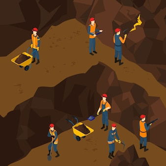 Isometric working miner people concept