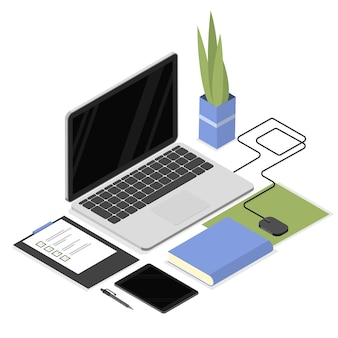 Изометрическое рабочее место с офисными принадлежностями, такими как портативный компьютер, планшет, документы, мышь и растения. офисный работник и студенческое рабочее место. изолированные