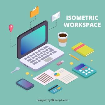 Изометрический фон рабочего пространства