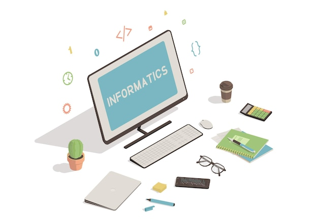 Isometric workspace with computer illustration
