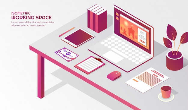 Isometric workspace with elements on the table