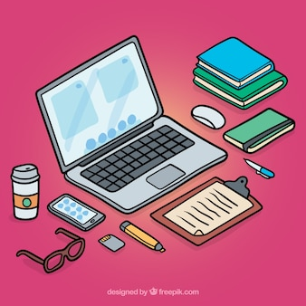 Isometric workspace with hand drawn style