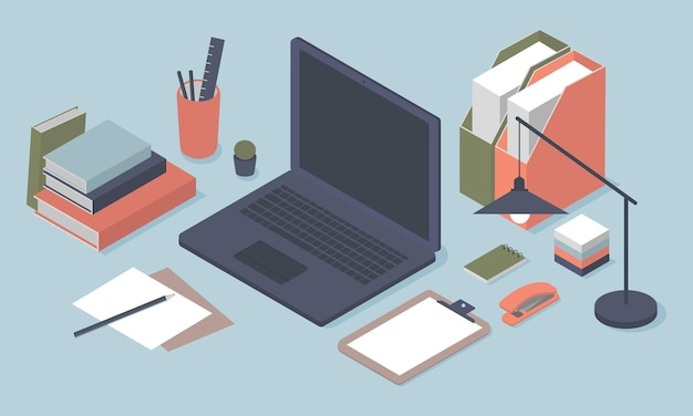 Isometric workspace with laptop and various stationery objects